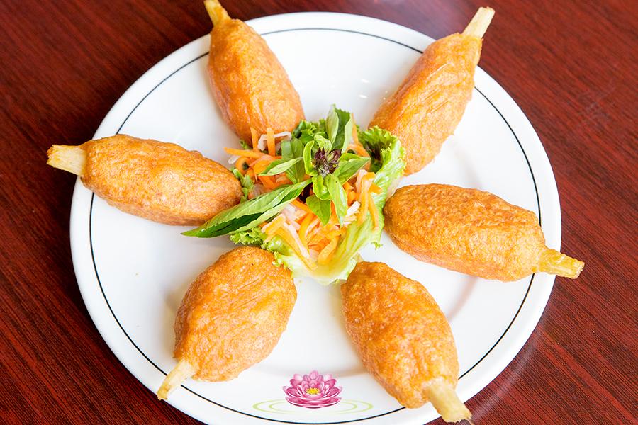 A06. Vegetarian mock shrimp on sugar cane